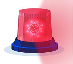 Imagen de una sirena de ambulancia luminosa roja