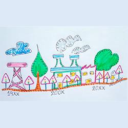 Dibujo infantil con unos semáforos y representación de imagen para diferentes años