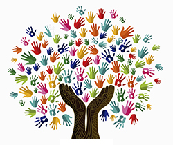 Dibujo de un árbol, cuyas ramas y tronco son manos, que representa el lenguaje inclusivo