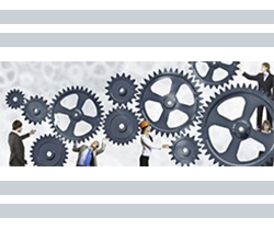 Imagen de un dibujo de varias personas de diferentes profesiones dentro de un mecanismo de una máquina