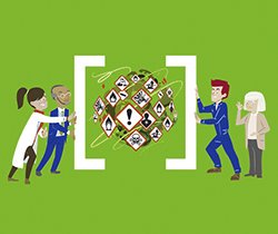 Imagen de un dibujo de varios trabajadores de distintas profesiones y edades encerrando en un paréntesis todas las sustancias especialmente peligrosas