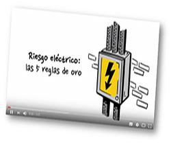Imagen de un cajetín de luz, con el símbolo de peligro eléctrico, y escrito: riesgo eléctrico, las cinco reglas de oro