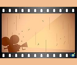 Imagen de un dibujo de un proyector de cine en el interior de un negativo