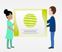 Imagen de un dibujo con dos personas sujetando un cartel del logotipo de gestión de riesgos psicosociales y estrés laboral