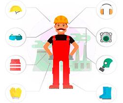 Imagen de un dibujo de un obrero de la construcción, señalando las partes de cuerpo donde tiene que llevar protección