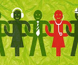 Dibujo de varias personas de diferentes profesiones, entrelazando sus brazos haciendo una cadena humana