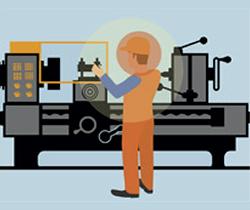 Dibujo de un trabajador en una máquina textil