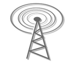 Dibujo de una torre de alta tensión rodeándola unos círculos representando el campo electromagnético