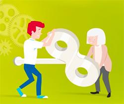 Imagen de un dibujo con dos personas, una joven y otra mayor sujetando una llave grande de cuerda