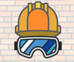 Imagen de un dibujo de un casco y una gafas de seguridad