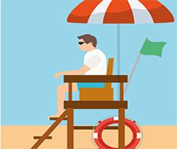 Dibujo de un vigilante de la playa con gafas de sol