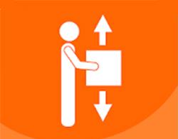 Dibujo de una persona con los brazos extendidos y sujetando una caja en las manos, con dos flechas indicando arriba y abajo