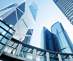 Imagen de una ciudad financiera, varios rascacielos