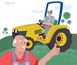 Imagen de dos agricultores en el campo, uno de ellos conduciendo un tractor y el otro con el pulgar hacia arriba