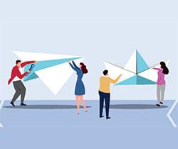 Dibujo de cuatro personas sujetando con los brazos en alto, un barco y un avión de papel