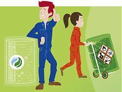 Dibujo de dos trabajadores, una portando una carretilla con un bidón lleno de mercancías peligrosas y otro levantando el pulgar de la mano con otro bidón a su lado