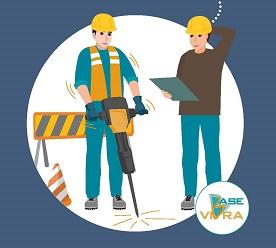 Dibujo de dos trabajadores de la construcción, con maquinaria vibradora