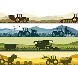 Dibujo de varios tractores trabajando en el campo en tres lineas horizontales