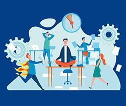 Imagen de un dibujo de unos personajes en una oficina, corriendo y haciendo actividades de manera muy estresada.
