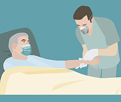 Dibujo de un enfermero y paciente en la cama, ambos con mascarilla