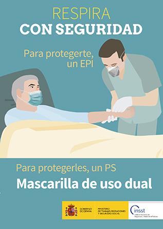 Díptico. Respira con seguridad. Para protegerte, un EPI. Para protegerles, un PS. Mascarilla de uso dual - Año 2020