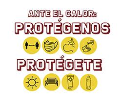 Imagen de mensaje ante el calor. protégenos, protégete