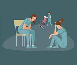 Dibujo de varias cuidadoras cansadas tanto física como psicológicamente