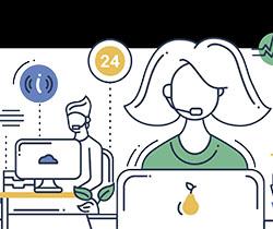 Dibujo de dos personas trabajando con ordenador