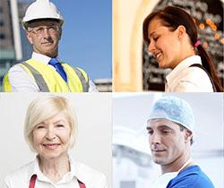 Imagen de varias personas de distintas edades y profesiones