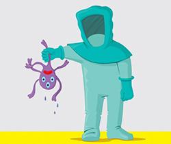 Dibujo de una persona con equipo de protección sosteniendo en las manos un pulpo de tres ojos