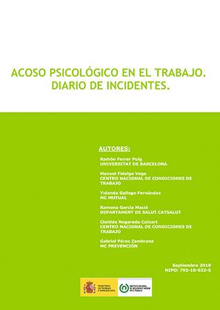 Acoso psicológico en el trabajo. Diario de incidentes - Año 2010