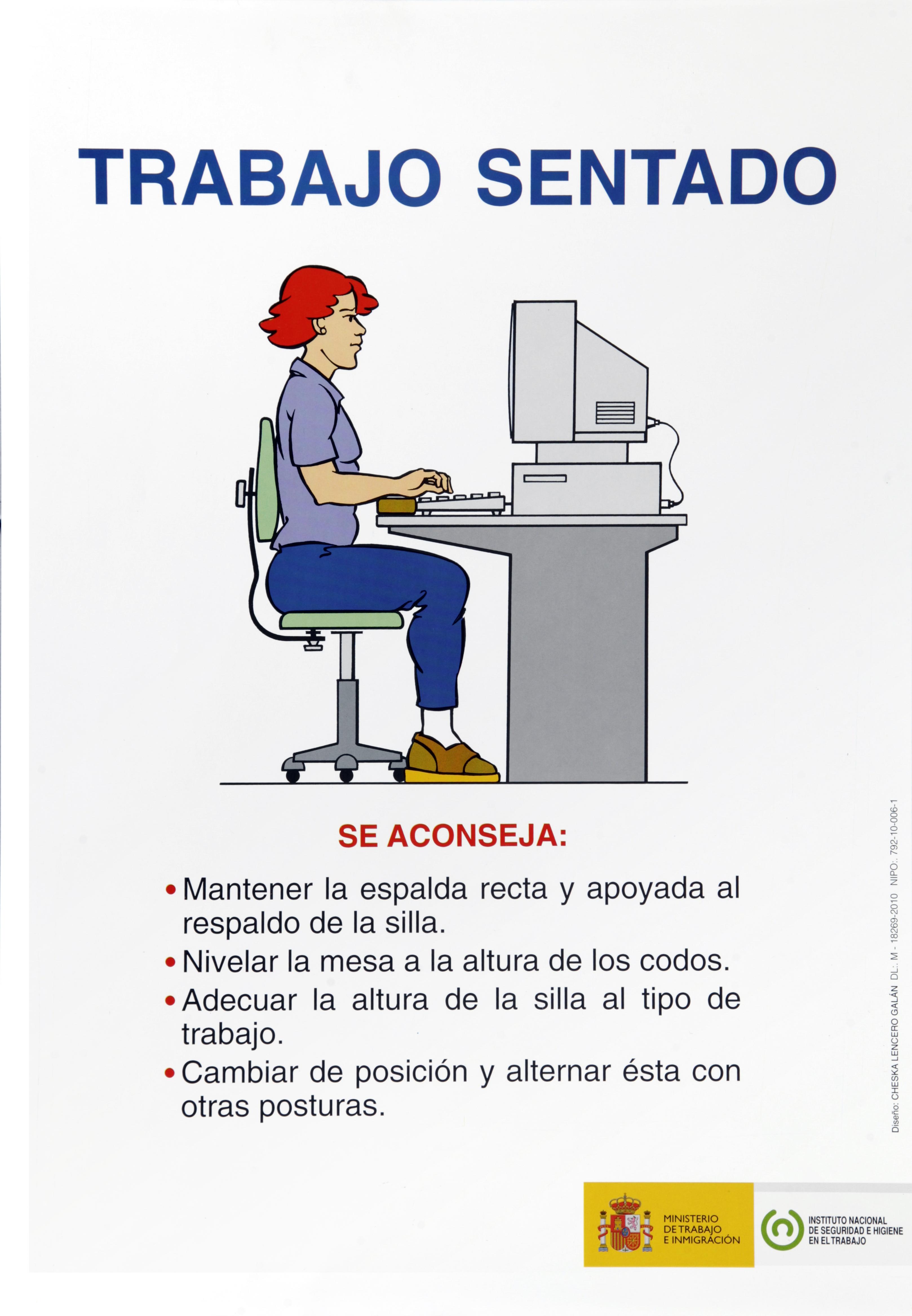 Trabajo sentado. Cartel - Año 2010