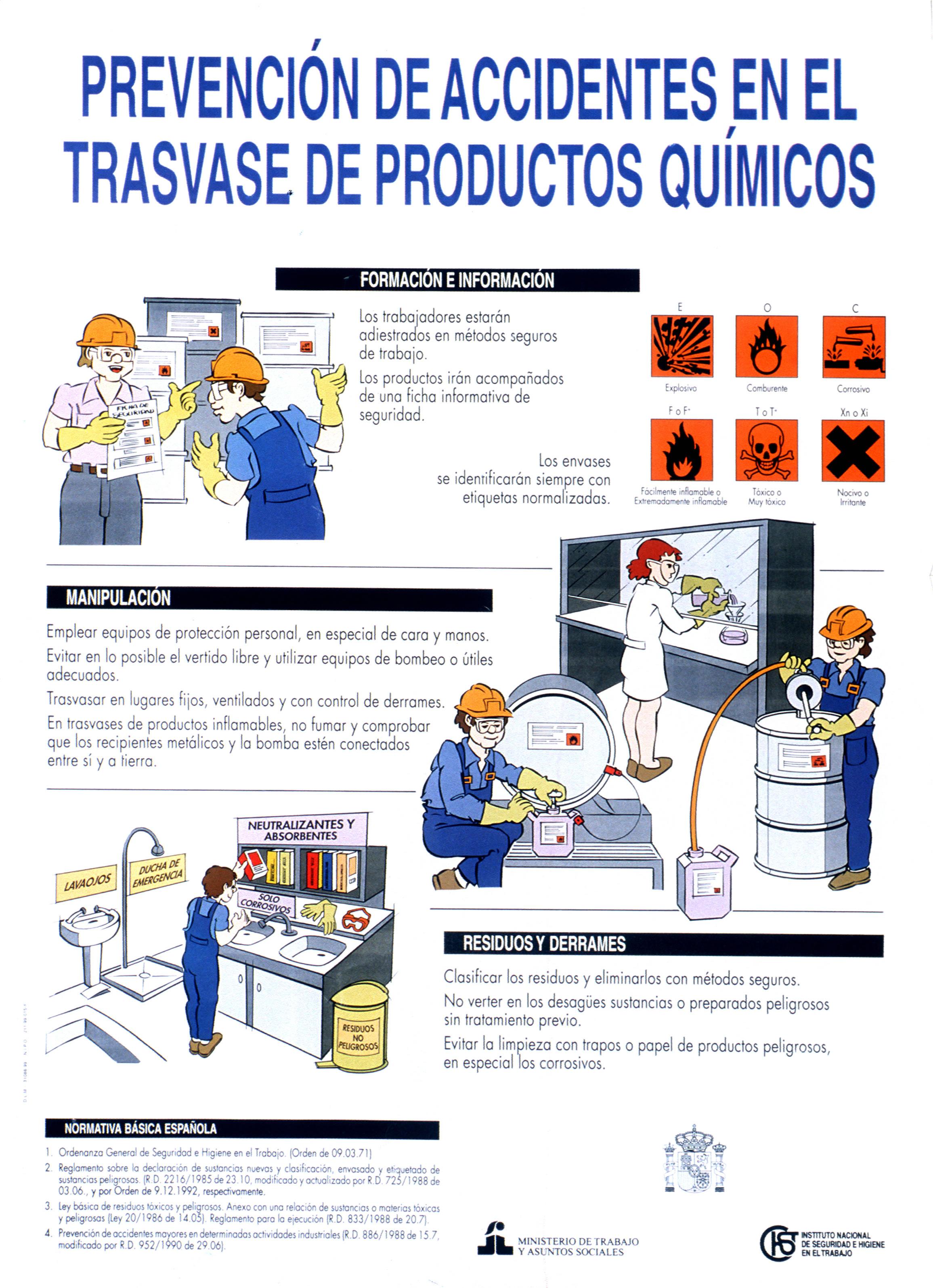 Prevención de accidentes en el trasvase de productos químicos. Cartel - Año 2010