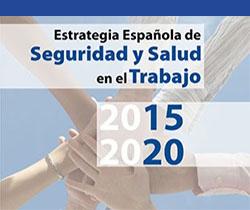 Imagen de cuatro manos, unas encima de otras y el logotipo de Estrategia Española de Seguridad y Salud en el Trabajo