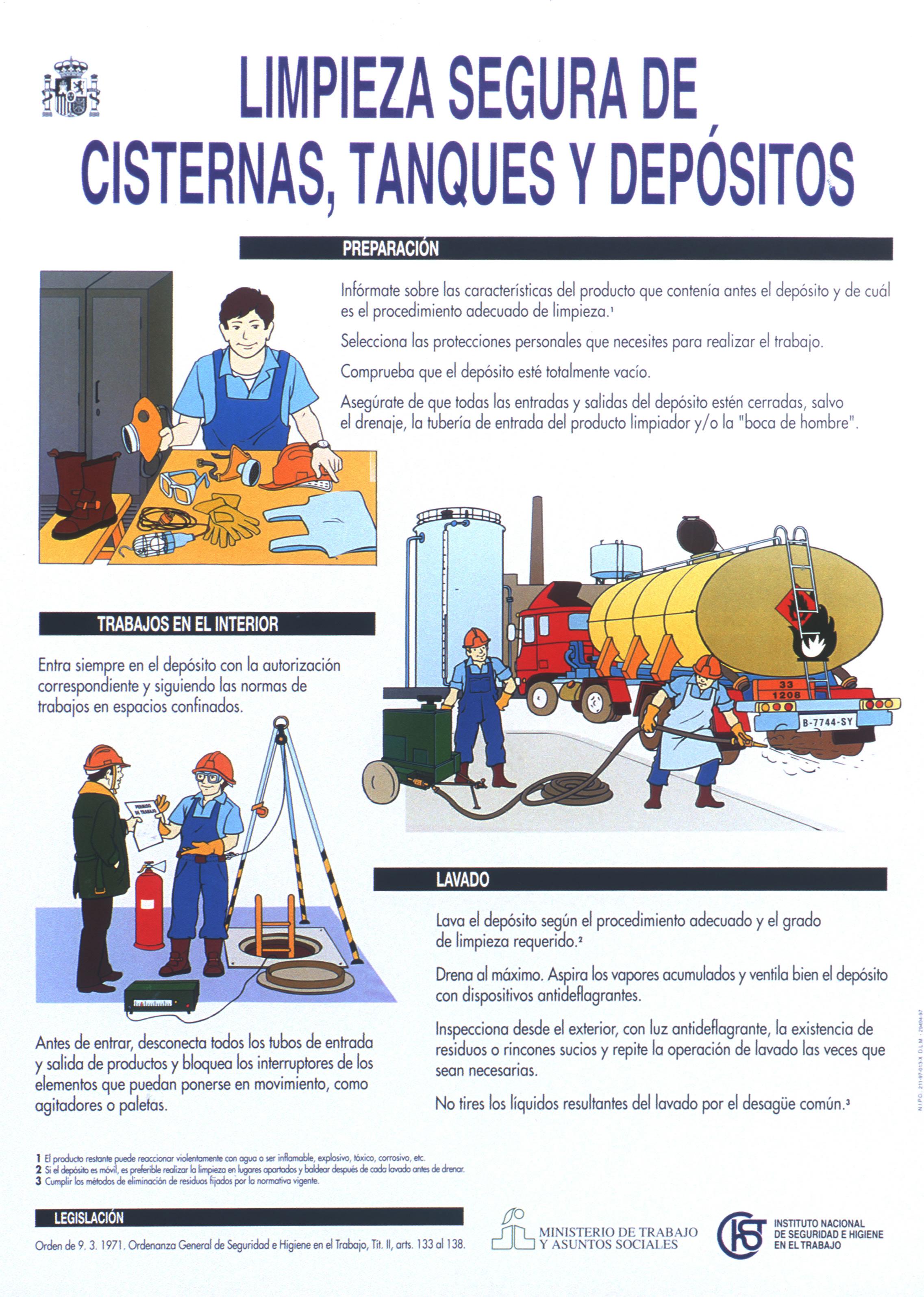Limpieza segura de cisternas, tanques y depósitos. Cartel - Año 2000