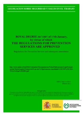 Royal decree 39/1997 of 17th January, by virtue of which the Regulations for Prevention services are approved
