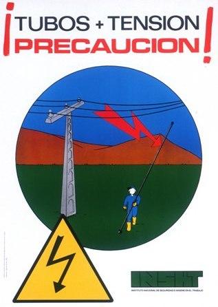 ¡Tubos + tensión precaución!. Cartel - Año 2000