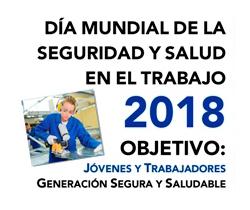 Imagen de la portada del Día Mundial de la Seguridad y Salid en el Trabajo, junto con otra imagen de una joven trabajadora en una fábrica, cortando una pieza con una sierra circular