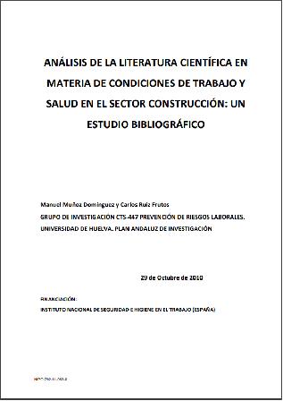 Análisis de la literatura científica en materia de condiciones de trabajo y salud en el sector Construcción: un estudio bibliográfico