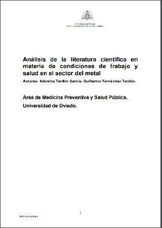 Análisis de la literatura científica en materia de condiciones de trabajo y salud en el sector del metal